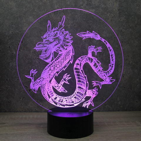 Image of Lampe Illusion Led Dragon Chinois, en verre acrylique gravée au laser