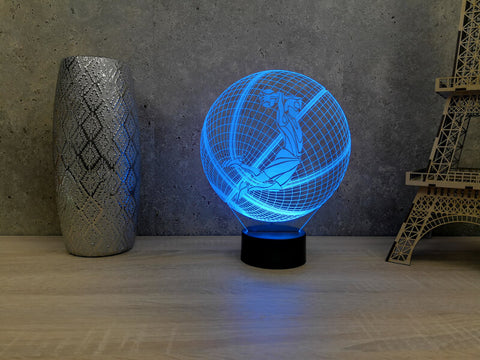 Image of Lampe Illusion Led 3D Ballon de Basket DUNK, en verre acrylique gravée au laser