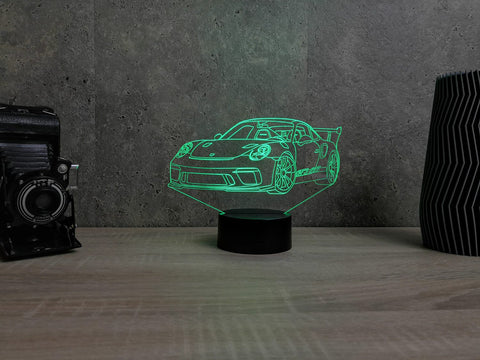 Image of Lampe Illusion Led Porsche 911 GT3 RS, en verre acrylique gravée au laser