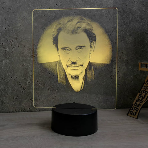 Image of Lampe Johnny Hallyday illusion Led, en verre acrylique gravée au laser