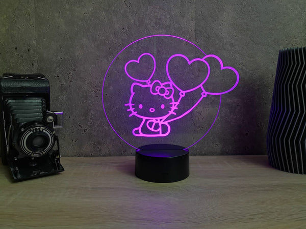 Lampe Illusion Led Hello Kitty, en verre acrylique gravée au laser