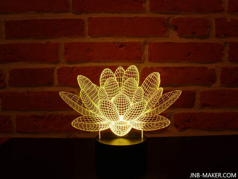 Image of Lampe Illusion Led 3D Lotus, en verre acrylique gravée au laser