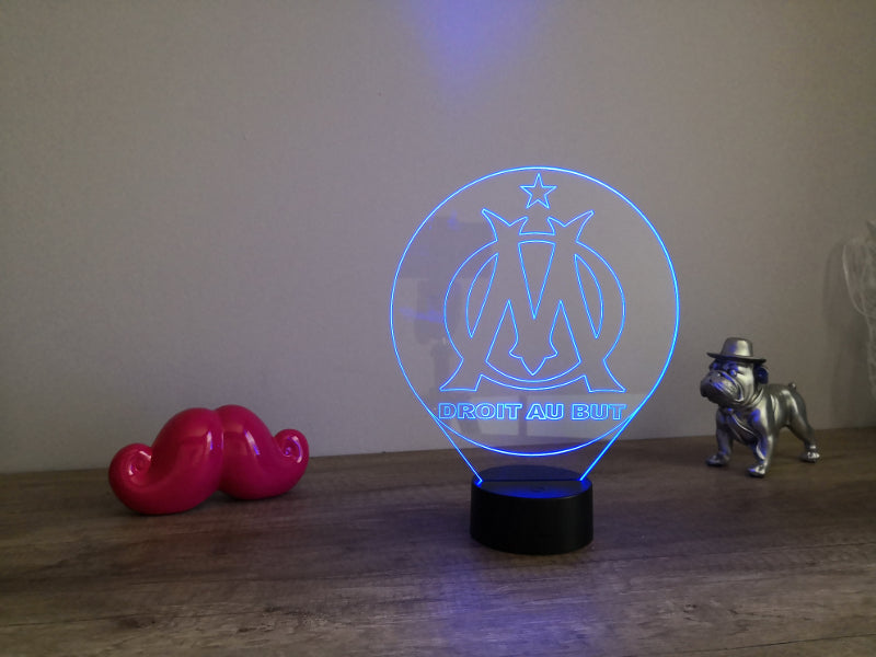 Lampe Illusion Led Club de Foot, en verre acrylique gravée au laser