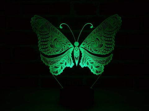 Image of Lampe Illusion Led Papillon, en verre acrylique gravée au laser