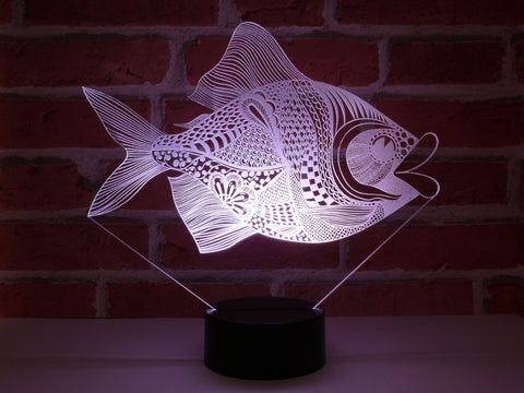 Image of Lampe Illusion Led Poisson, en verre acrylique gravée au laser