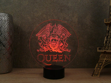 Lampe Illusion Led Queen, en verre acrylique gravée au laser