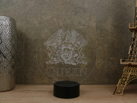 Image of Lampe Illusion Led Queen, en verre acrylique gravée au laser