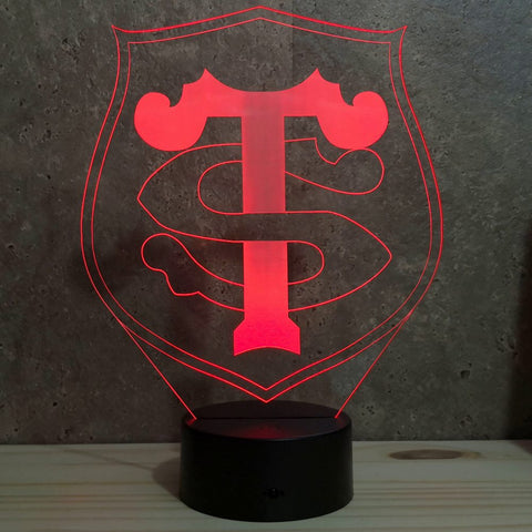 Lampe Rugby Toulouse illusion 3D led 7 couleurs RGB