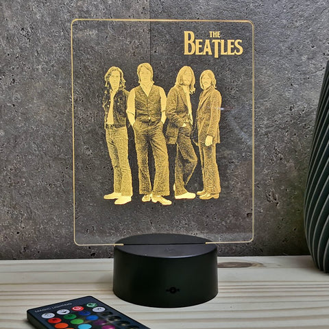 Lampe The Beatles illusion Led, en verre acrylique gravée au laser