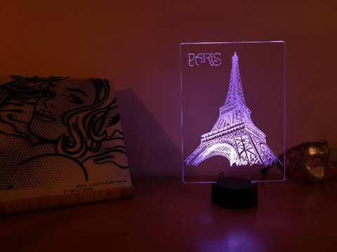 Image of Lampe Illusion Led Tour Eiffel, en verre acrylique gravée au laser