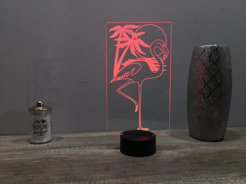 Lampe Illusion Led Flamant Rose, en verre acrylique gravée au laser