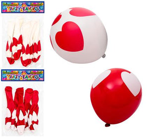 avenusa - Red & White Heart Helium Balloons  6pc - avenu.co.za - Party & Decorations