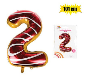 Donut Balloon Donut Number Birthday Party Decorations Grow Up Aluminum Hanging Foil Film Balloon - Number 2, 101cm In Size