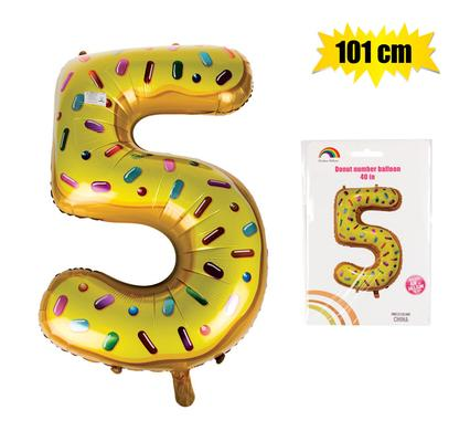 Donut Balloon Donut Number Birthday Party Decorations Grow Up Aluminum Hanging Foil Film Balloon - Number 5, 101cm In Size