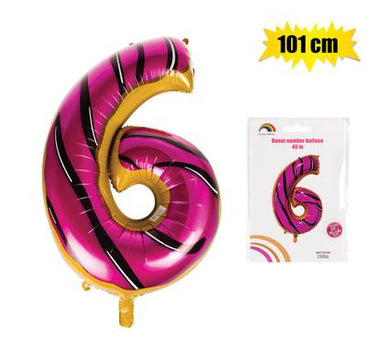 Donut Balloon Donut Number Birthday Party Decorations Grow Up Aluminum Hanging Foil Film Balloon - Number 6, 101cm In Size