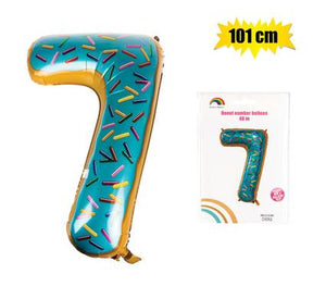 Donut Balloon Donut Number Birthday Party Decorations Grow Up Aluminum Hanging Foil Film Balloon - Number 7, 101cm In Size