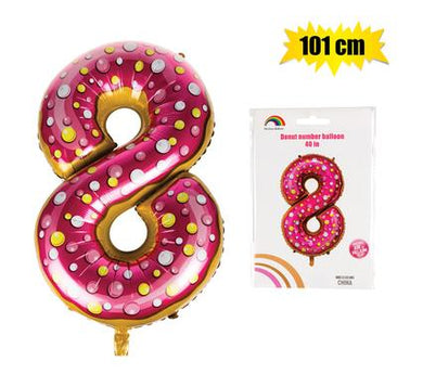 Donut Balloon Donut Number Birthday Party Decorations Grow Up Aluminum Hanging Foil Film Balloon - Number 8, 101cm In Size