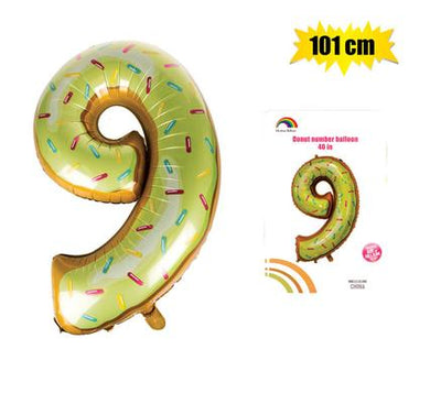 Donut Balloon Donut Number Birthday Party Decorations Grow Up Aluminum Hanging Foil Film Balloon - Number 9, 101cm In Size