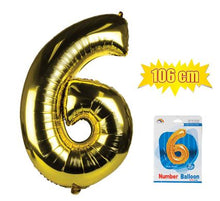 Load image into Gallery viewer, avenusa - Gold Foil Balloon Helium - Birthday Party Decoration, Anniversary Numbers 0 to 9 - 106 cm - avenu.co.za - Home & Decor