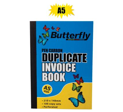 Butterfly Pen Carbon Duplicate Invoice Book A5, 100 Copy Sets - Perforated