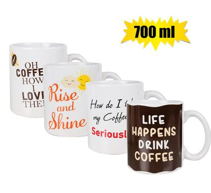 Funny 700ml Jumbo Coffee Mugs, Novelty Gift Set of 4 Mugs for Him or Her