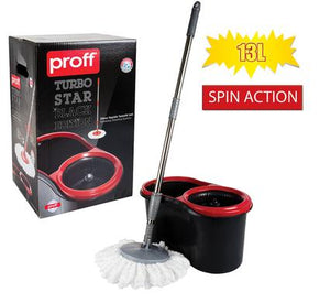 avenusa - Proff Turbo Star, Black Edition Microfiber Mop with Spin Action Bucket - 13 Litres - avenu.co.za - Home & Decor