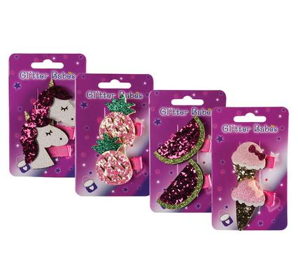 avenusa - Glitter Babes Hair Clips Sequenced Shapes, 2 Clips Per Pack, all 4 in the Set - avenu.co.za - Health & Beauty