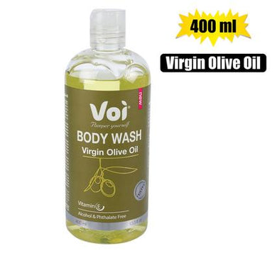Voi 100% Natural Olive Oil Extract Body Wash 400ml Easy Seal Bottle. Great for the whole family