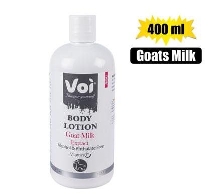 Voi Goats Milk Extract Body Lotion, 400ml Easy Use Bottle. Luxurious Lotion for the Entire Body