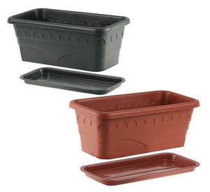 avenusa - Planter with Tray 30x16x12cm Plastic Rectangle - avenu.co.za - Tools & Home Improvement, Planters