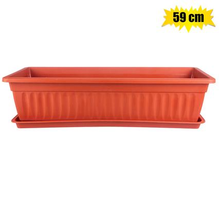 Planter with Tray 59x21x14cm Plastic Rectangle
