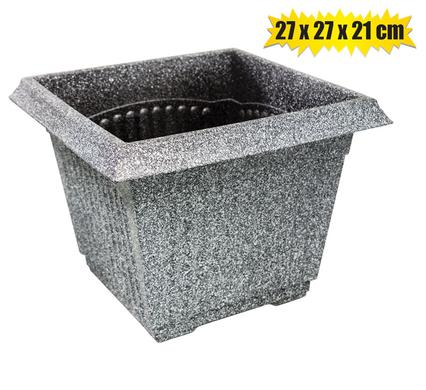 Square Flower Pot - Plastic - 27 x 27 x 21 cm