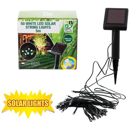 avenusa - Solar Photo Cell Garden Light, 50 White LED Solar String Lights, 5m - avenu.co.za - Tools & Home Improvement, Garden