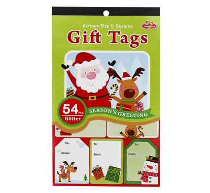 Christmas Stationery Gift Tag, Peel'N Stick - 54pc Glitter