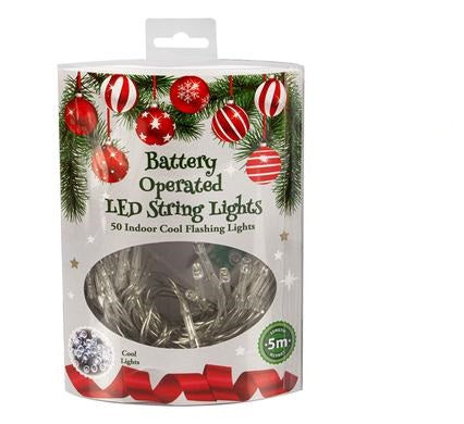 Christmas LED Twinkle Fairy Lights - Warm White, Multicoloured & Flashing - 50 Lights - 5 M Long