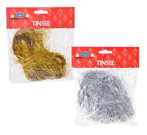 Garland of Schredded Tinsel in Gold or Silver - Decorate Christmas Tree - 30 g