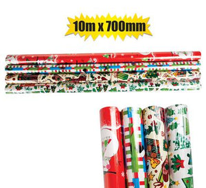 Christmas Stationery Gift Wrap 10m x 700mm, Bulk 4 Pack