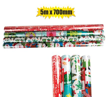 Christmas Stationery Gift Wrap 5m x 700mm - 4 Rolls in Pack