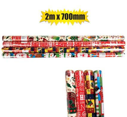 Christmas Stationery Gift Wrap 2m x 700mm - 60gsm, 4 Pack, Bulk Buy