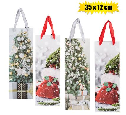 Christmas Gift Carrier Bag - Bright Vibrant Colours and Designs - 35 x 12 cm, 4pc Pack