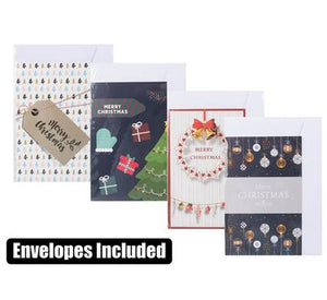 Christmas Cards with Envelope - Festive Assorted Designs - Send Season Greetings, 4 Pack