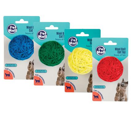 avenusa - Pet Mall Wool Ball Cat Play Toy, Interactive Cat Toy - 50mm Ball , Multicolored 4 Pack - avenu.co.za - Pet Supplies