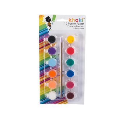 avenusa - Khoki 12 Coloured Water Based Paints - avenu.co.za - Arts & Crafts