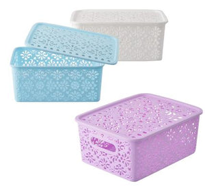 avenusa - Lace Design Rectangular Plastic Baskets With Lid 24x18x10cm - avenu.co.za - Home & Decor
