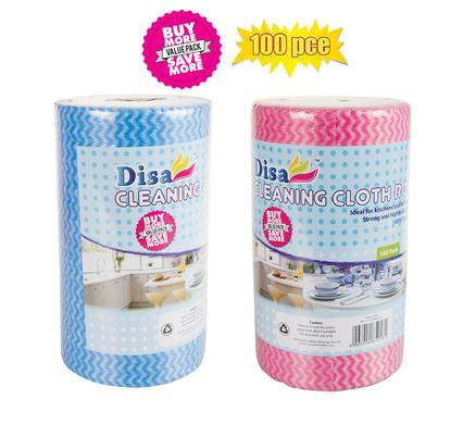 Disa Cleaning Cloth Roll 100pc 50x22cm BLUE/PINK