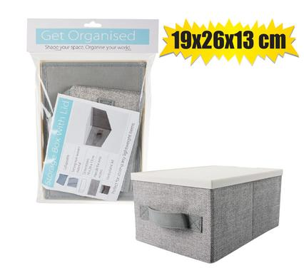 Collapsible Non-Woven Storage Box with Lid, 19x26x13cm