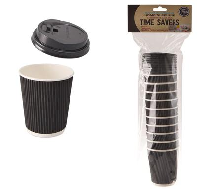 avenusa - Time Saver Paper Cups 250ml - 10 Pack with Lids - avenu.co.za - Home & Decor
