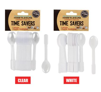 avenusa - Plastic Tea Spoons Time Savers 24 Piece (White or Clear) - avenu.co.za - Home & Decor