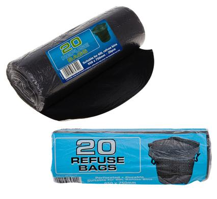 avenusa - Refuse Liner Bin Bags, Leaves, Lawn Bags - Black 750 x 950mm Strong, 5 Pack - avenu.co.za - Tools & Home Improvement