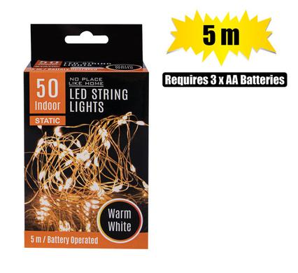 50 Bulb String Lights, LED Lights Warm White Fairy DIY Decor, 5m Length